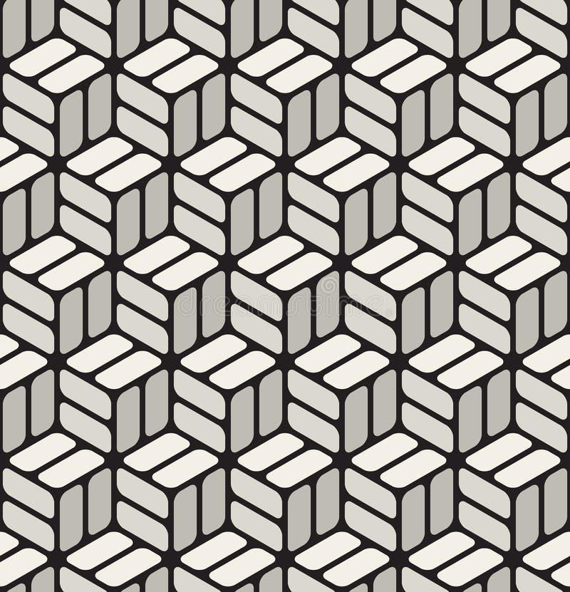 Teste padrão cúbico sem emenda preto do vetor & do branco do canto arredondado dos retângulos do pavimento ilustração royalty free