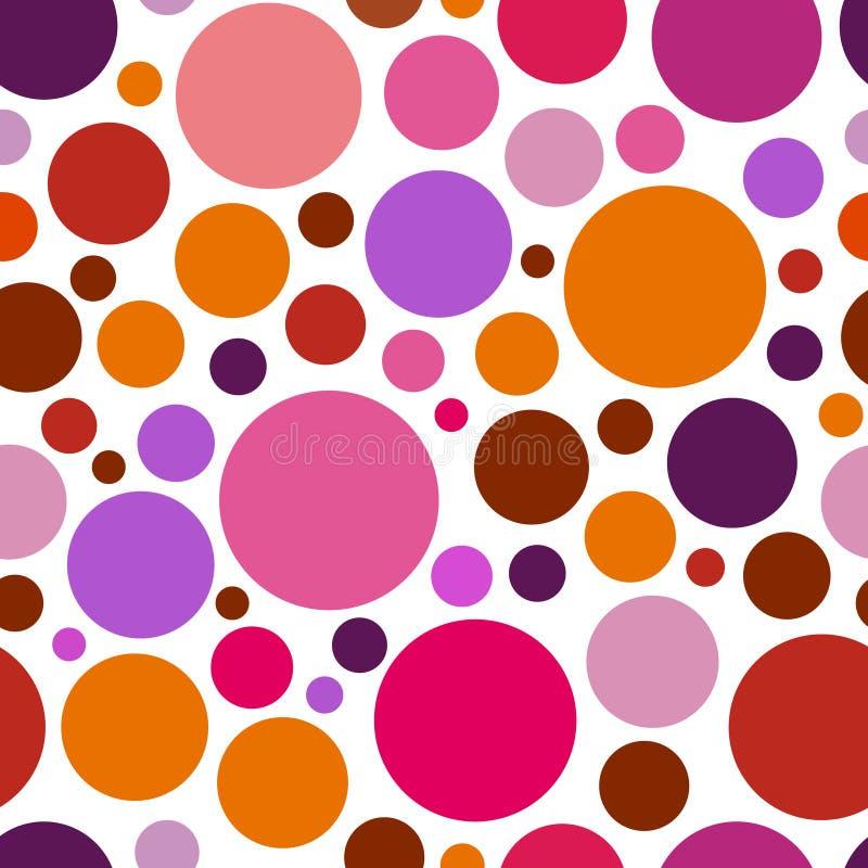 Teste padrão caótico redondo pontos gráficos coloridos ou gotas ilustração stock