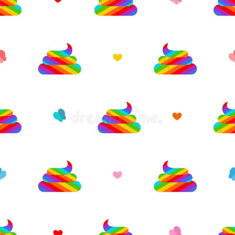 Teste padrão cagado do unicórnio sem emenda Fundo colorido do turd do arco-íris ilustração royalty free