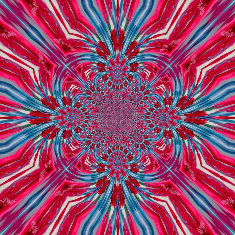 Teste padrão calidoscópico capaz da telha brilhante cor-de-rosa azul do fractal ilustração stock
