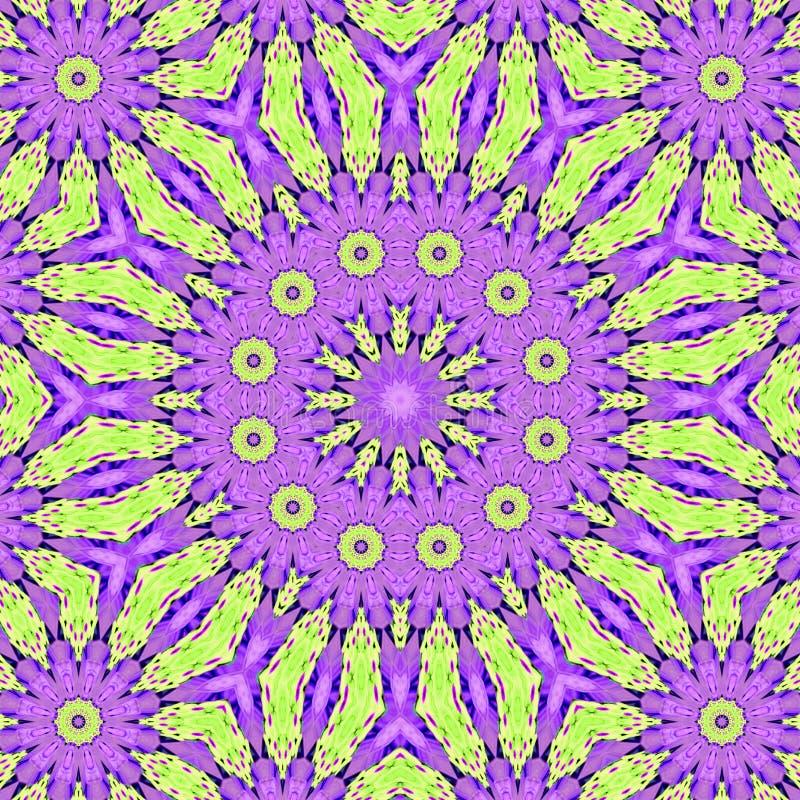 Teste padrão calidoscópico capaz de espalhamento violeta cor-de-rosa da telha do fractal nas cores pastel ilustração stock