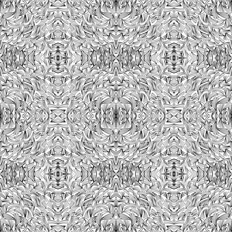 Teste padrão calidoscópico preto e branco abstrato sem emenda Mão ondulada textura geométrica infinita tirada ilustração stock