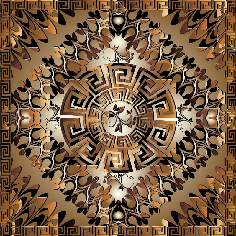 Teste padrão chave grego geométrico do painel do luxo 3d O quadrado meandra o Orn ilustração royalty free