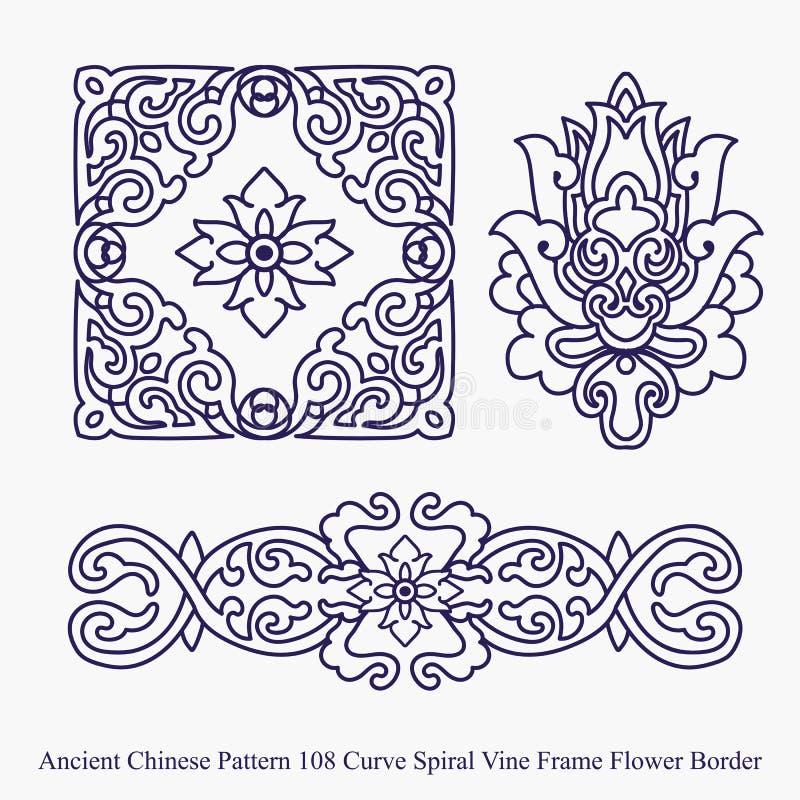 Teste padrão chinês antigo da beira da flor do quadro da videira da espiral da curva ilustração royalty free