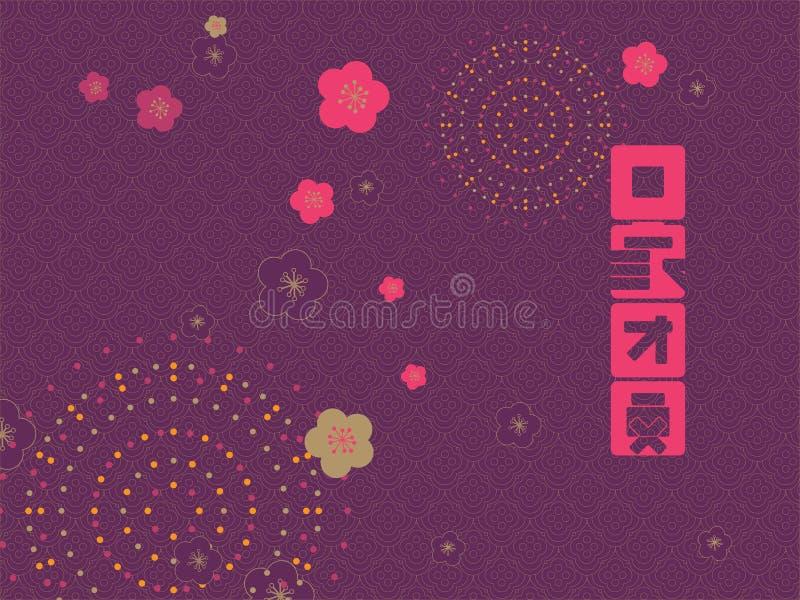 Teste padrão chinês do ano novo Tradução: Vá em casa e reuna ilustração do vetor