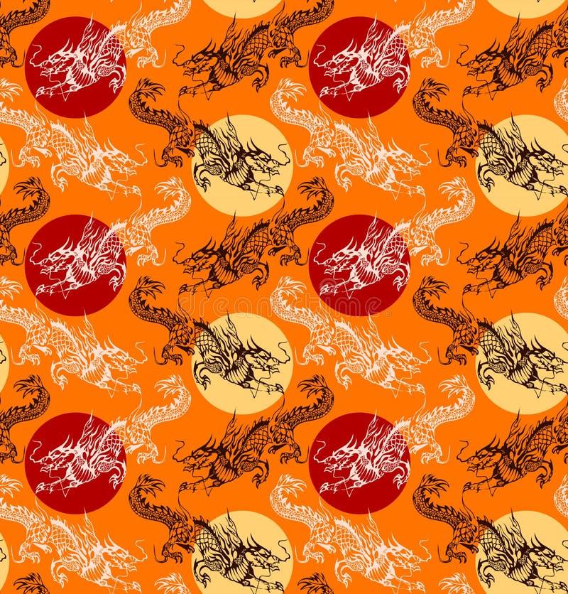 Teste padrão chinês 3 do dragão ilustração do vetor