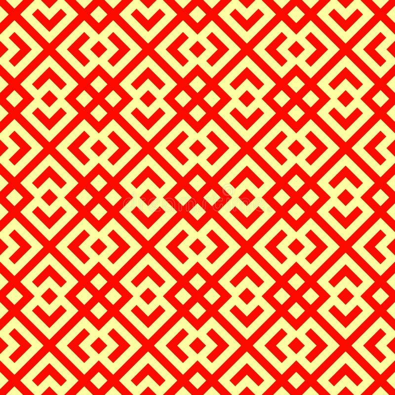 Teste padrão chinês sem emenda do tracery da janela Rombos vermelhos estilizados repetidos no fundo amarelo Vetor abstrato simétr ilustração stock