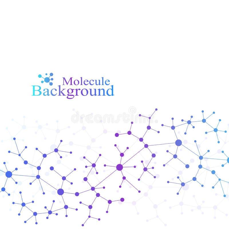 Teste padrão científico da química Pesquisa do ADN da molécula da estrutura como o conceito Fundo da ciência e da tecnologia ilustração royalty free