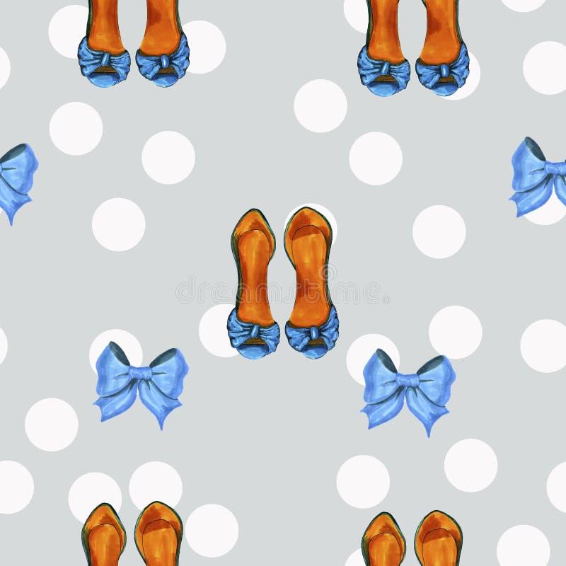 Teste padrão cinzento do vintage com pontos brancos e arte finala azul das sapatas ilustração do vetor