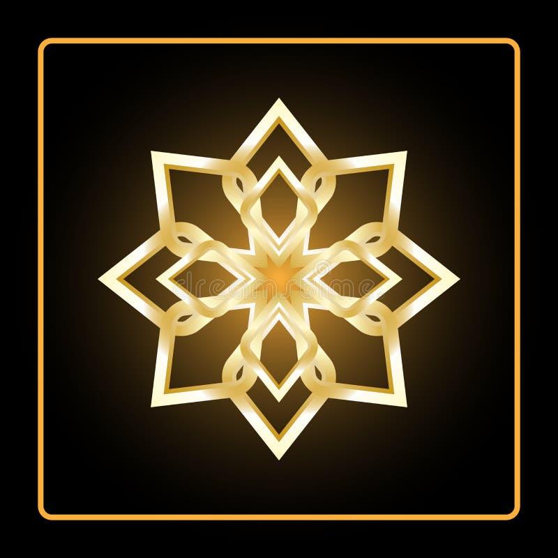 Teste padrão circular Ícone geométrico Figura aguçado do ouro oito no fundo preto Estilo moderno Ilustração do vetor Símbolo simp ilustração stock
