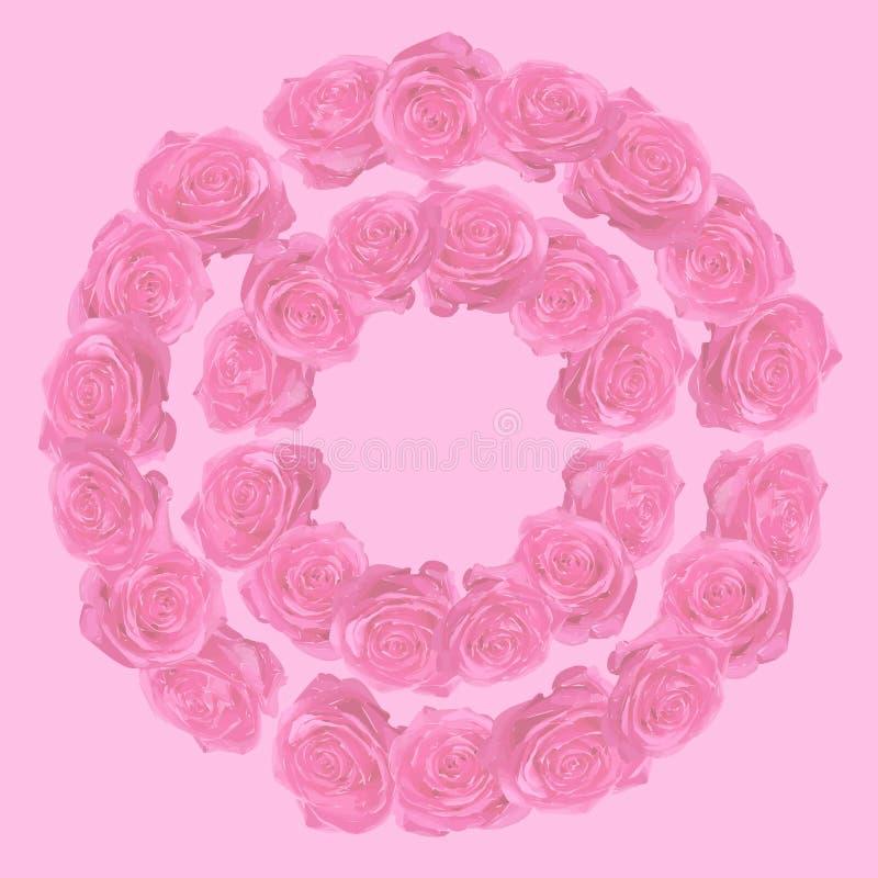 Teste padrão circular com rosas cor-de-rosa imagem de stock royalty free