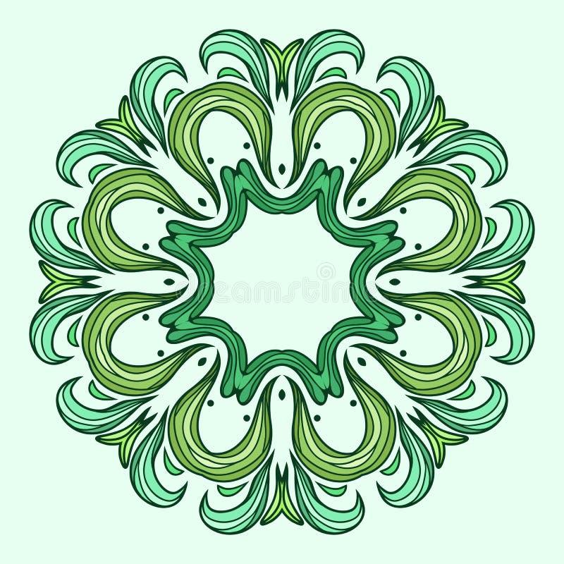 Teste padrão circular da folha abstrata verde ilustração royalty free