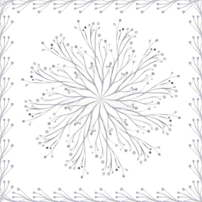 Teste padrão circular de plantas do vetor da aquarela ilustração stock