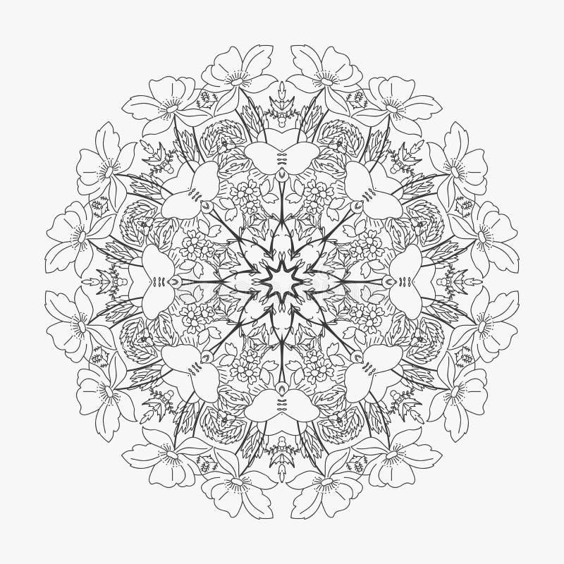 Teste padrão circular flores dadas laços 2 ilustração royalty free