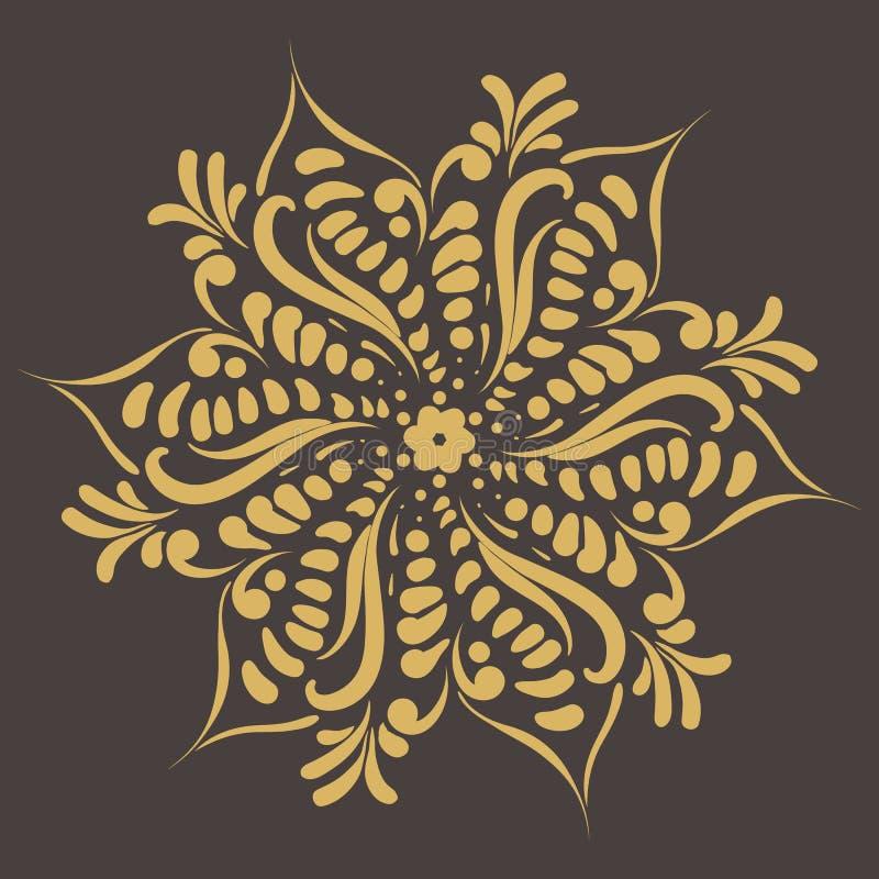 Teste padrão circular Ornamento redondo Frame do vintage ano novo feliz 2007 Convite do casamento Estilo retro Molde do logotipo  ilustração stock