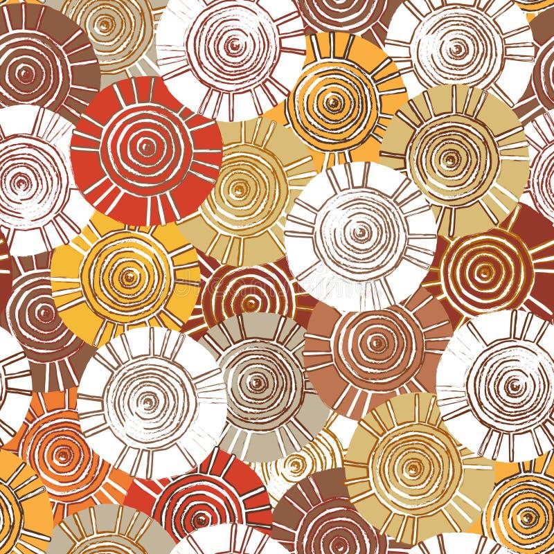 Teste padrão circular, tribal com motivos de tribos africanos Surma e Mursi fotografia de stock royalty free