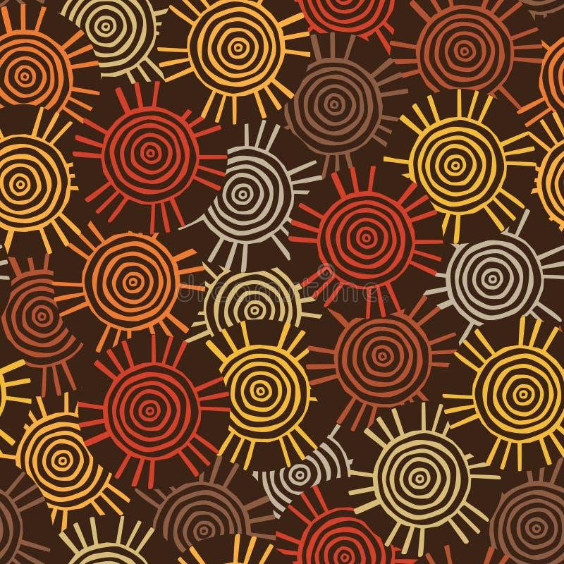 Teste padrão circular, tribal com motivos de tribos africanos Surma e Mursi fotos de stock