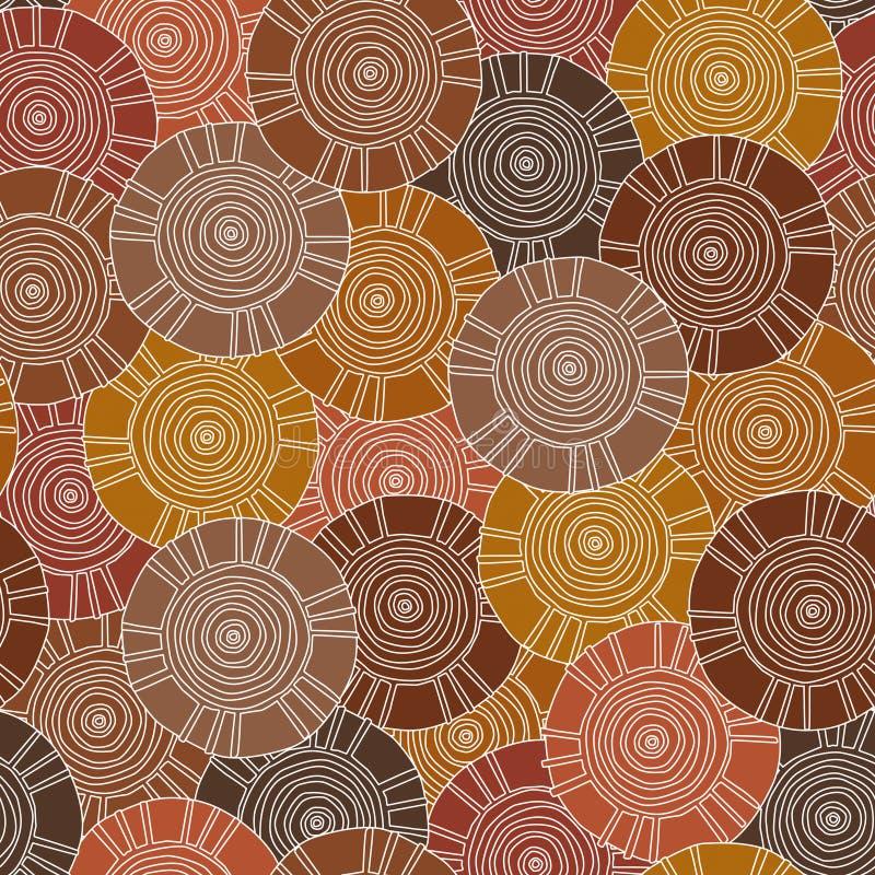 Teste padrão circular, tribal com motivos de tribos africanos Surma e Mursi fotografia de stock