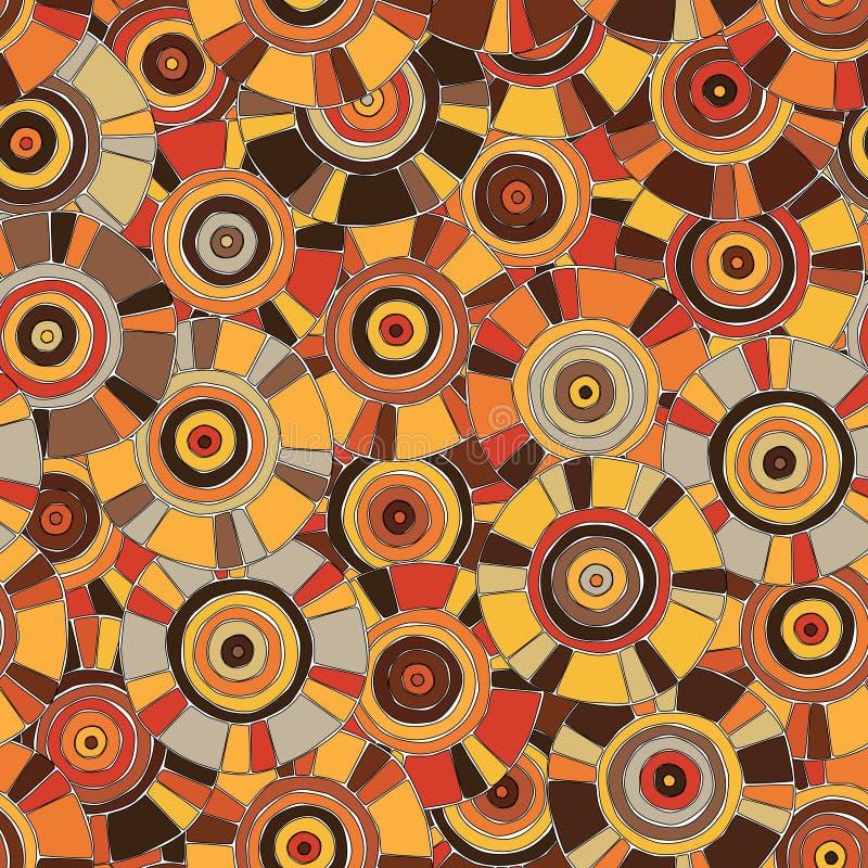 Teste padrão circular, tribal em tons marrons com motivos do tribos africanos Surma e Mursi; textura sem emenda apropriada para a ilustração royalty free