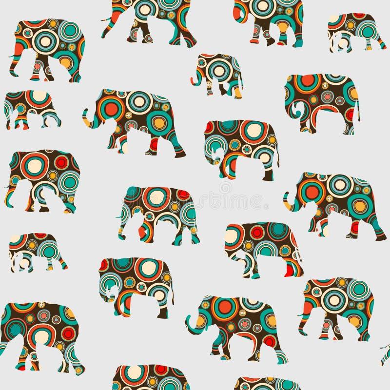 Teste padrão colorido abstrato com elefantes ilustração stock