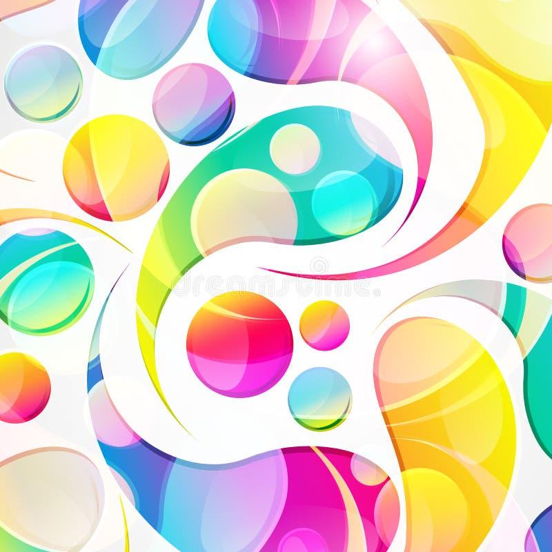 Teste padr?o colorido abstrato da arco-gota de paisley em um fundo branco As gotas e os c?rculos coloridos transparentes projetam ilustração stock