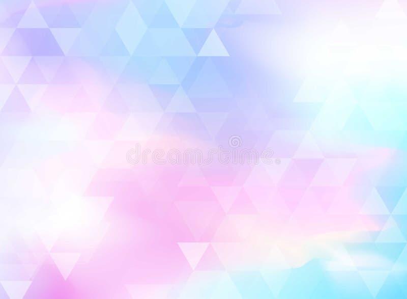 Teste padrão colorido abstrato dos triângulos no backgrou holográfico da folha ilustração royalty free