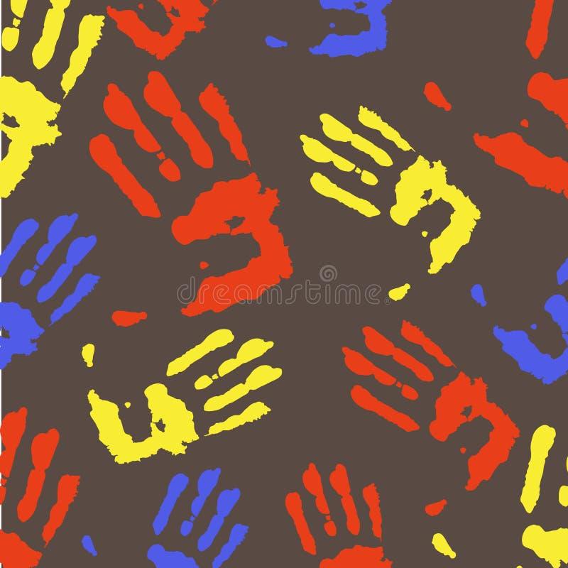 Teste padrão colorido brilhante do divertimento com handprints ilustração do vetor