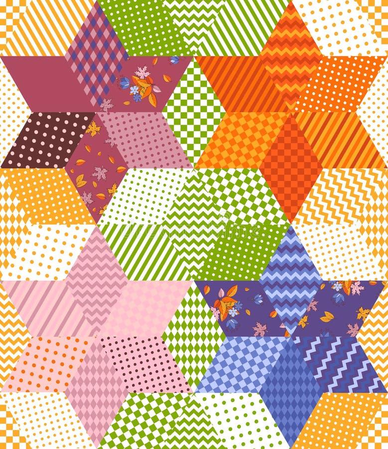 Teste padrão colorido brilhante dos retalhos com as estrelas dos remendos dos rombos Ilustração sem emenda do vetor da edredão ilustração stock