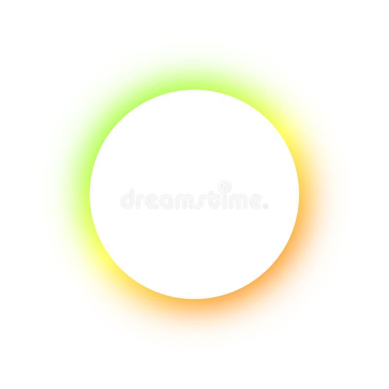 Teste padrão colorido brilhante em volta das cores diferentes de incandescência dos botões de néon, o espaço para o texto Projeto imagem de stock