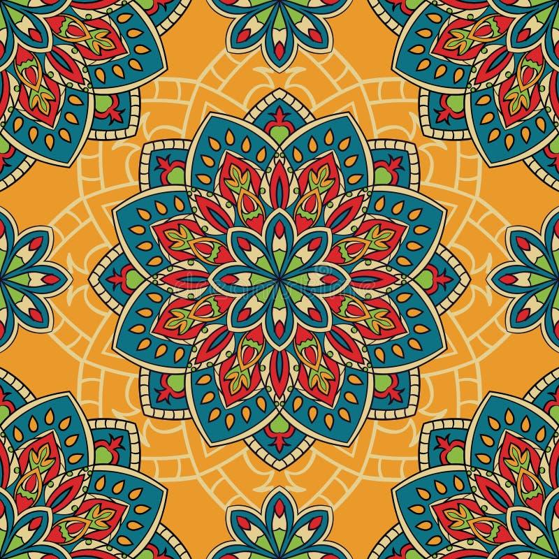 Teste padrão colorido com mandalas ilustração do vetor