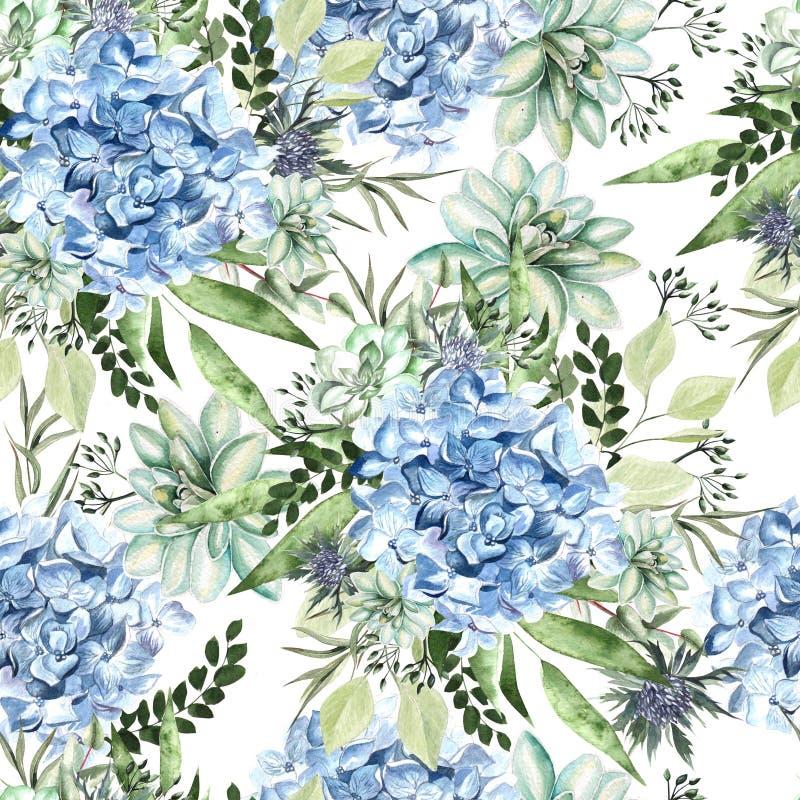 Teste padrão colorido da aquarela com flores hortênsia, plantas carnudas e folhas ilustração stock