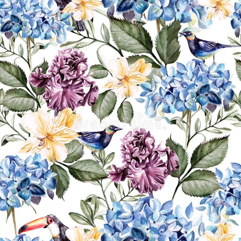 Teste padrão colorido da aquarela com hortênsias, alstroemeria, íris e pássaros das flores ilustração do vetor