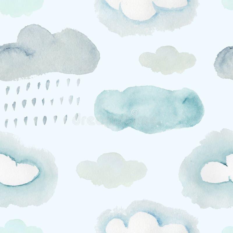Teste padrão colorido da aquarela com nuvens tormentosos ilustração do vetor