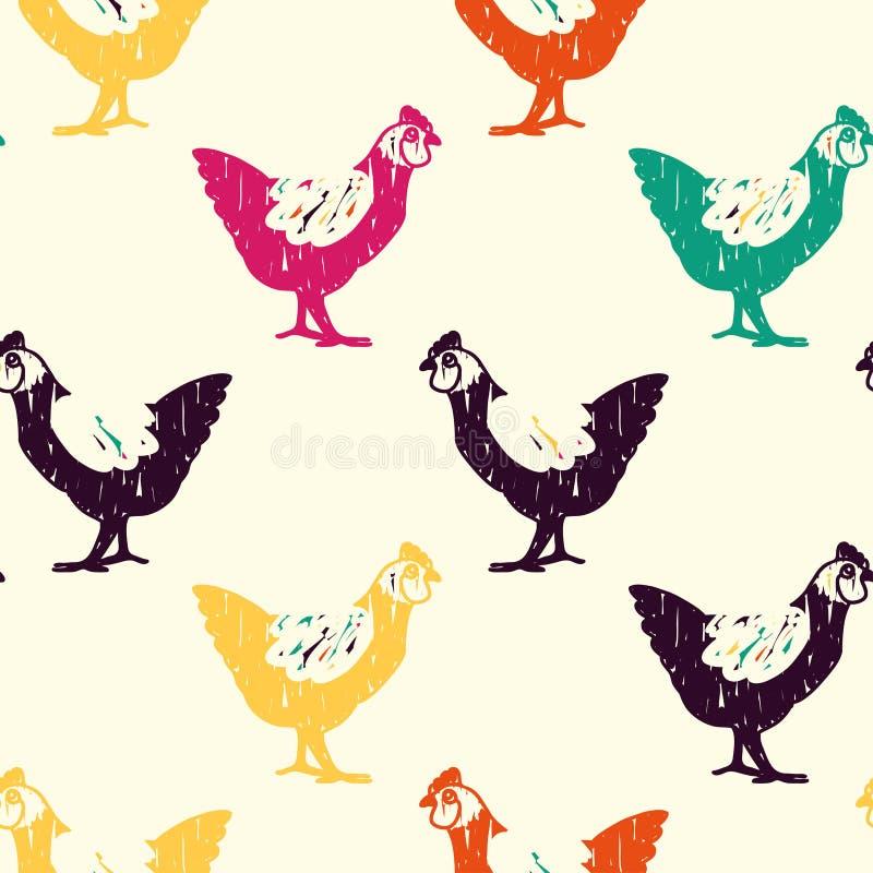 Teste padrão colorido da garatuja da galinha ilustração royalty free