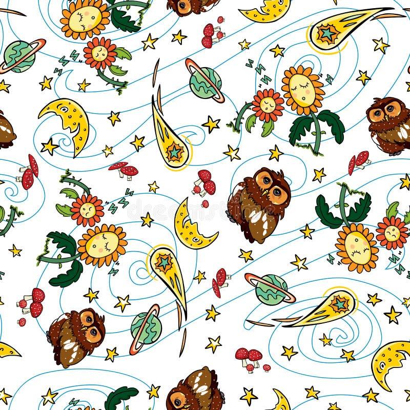 Teste padrão colorido da repetição do cometa e da lua da coruja do vetor com fundo branco Apropriado para o papel de embrulho, a  ilustração royalty free
