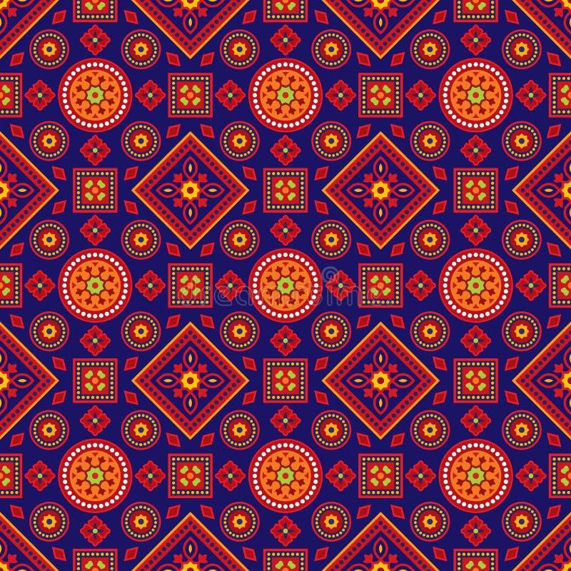 Teste padrão colorido de Ajrak ilustração do vetor