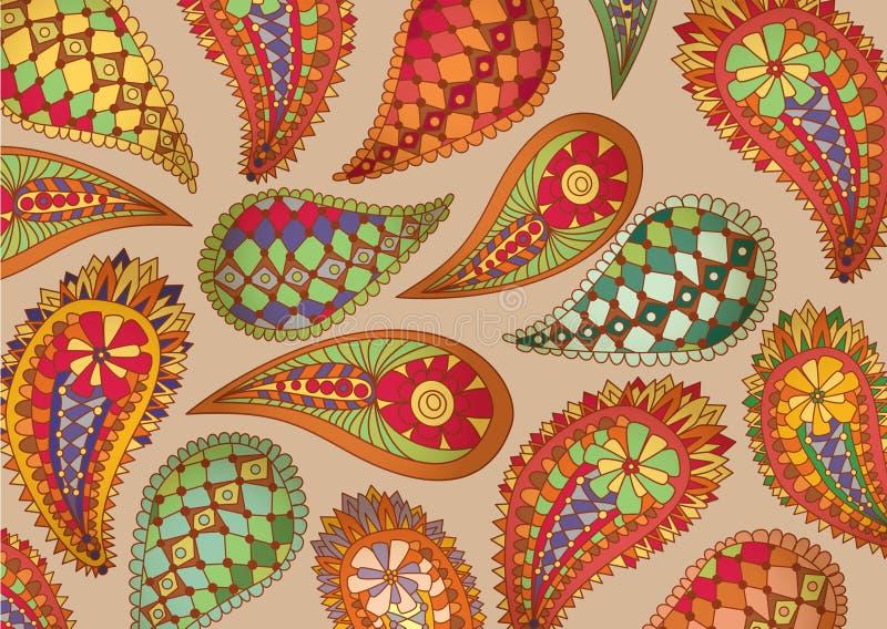 Teste padrão colorido de paisley ilustração do vetor