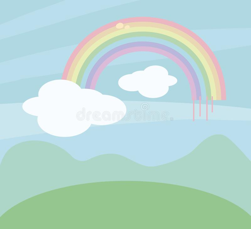 Teste padrão colorido do arco-íris do vetor no fundo do céu azul com as nuvens brancas acima do contorno das montanhas e dos prad ilustração stock