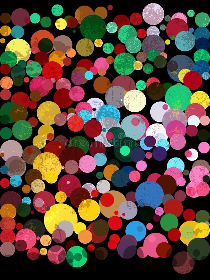 Teste padrão colorido do círculo no fundo preto do quadro ilustração do vetor