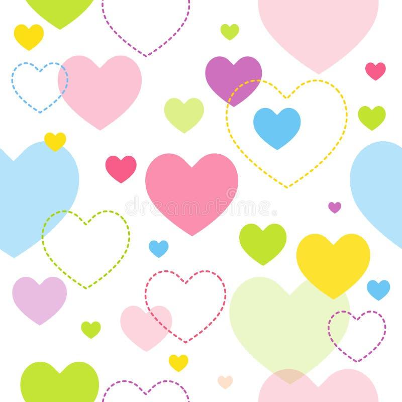 Teste padrão colorido do coração ilustração stock