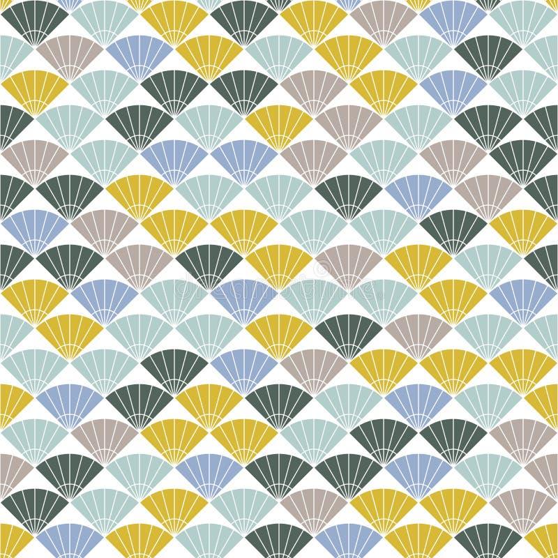 Teste padrão colorido do fã Baseado no bordado japonês tradicional ilustração stock