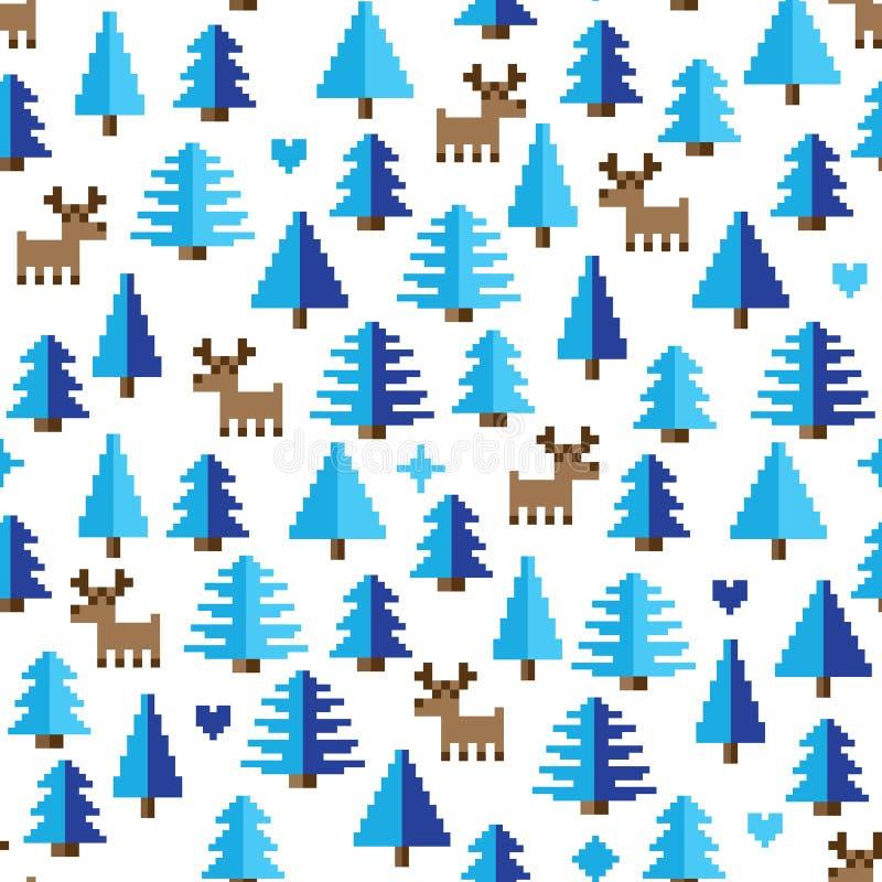Teste padrão colorido do pixel com elementos do país das maravilhas do inverno ilustração stock
