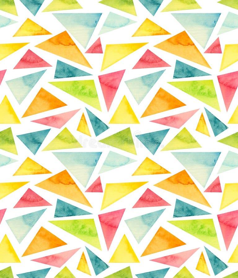 Teste padrão colorido do sumário da repetição dos triângulos da mola da aquarela ilustração stock