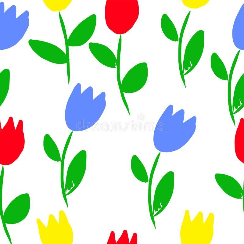 Teste padrão colorido do vetor das flores da mola fotografia de stock