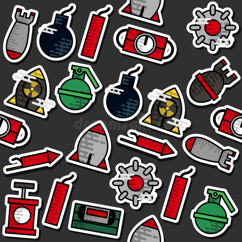 Teste padrão colorido dos ícones da bomba ilustração royalty free
