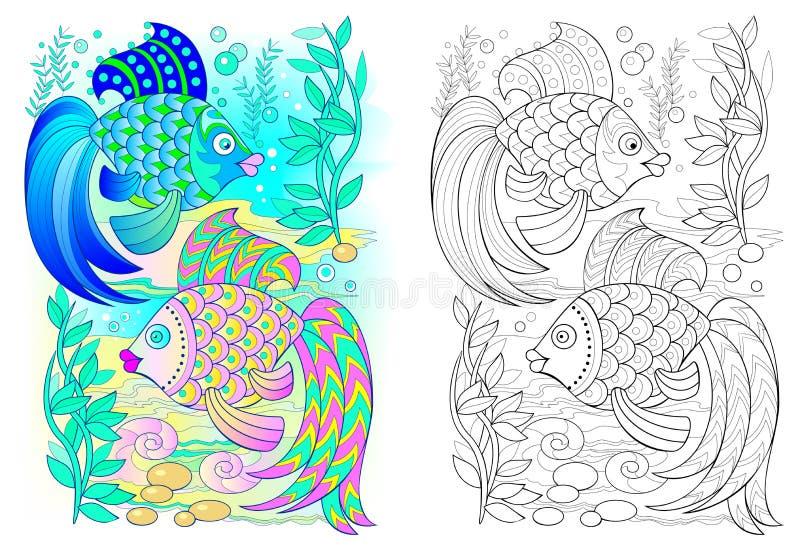 Teste padrão colorido e preto e branco para colorir Desenho dos pares de peixes que dançam debaixo d'água ilustração royalty free
