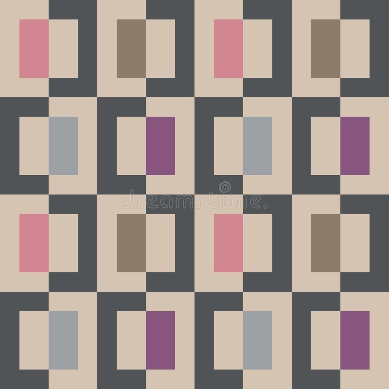 Teste padrão colorido geomatric abstrato sem emenda do quadrado do pixel ilustração stock