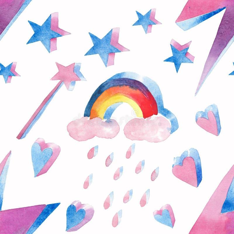 Teste padrão colorido mágico feericamente bonito bonito bonito brilhante de elementos mágicos: o relâmpago, arco-íris, varinha má ilustração royalty free