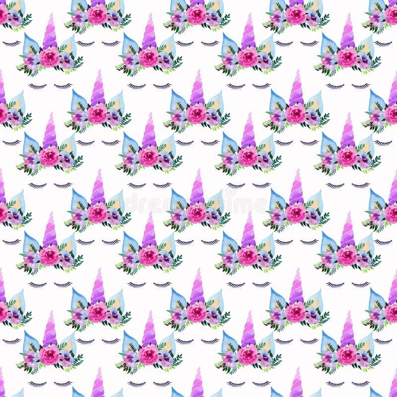Teste padrão colorido mágico feericamente bonito bonito da mola bonita brilhante dos unicórnios com as pestanas na aquarela flora ilustração royalty free