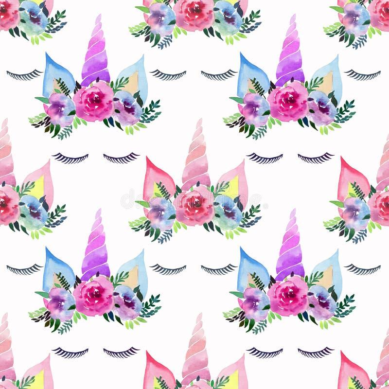 Teste padrão colorido mágico feericamente bonito bonito da mola bonita brilhante dos unicórnios com as pestanas na coroa macia fl ilustração royalty free